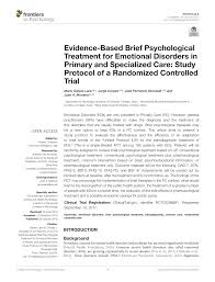 The Effects Of Brief Individual Cognitive Behavioural Therapy For