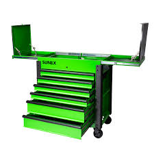 100 Service Truck Tool Drawers 6Drawer Slide Top Cart With Power Strip Lime Green Sunex