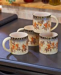 Country Kitchen Mug Set Of 4 15 Oz Faith Family Friends Hearts Stars Unbranded