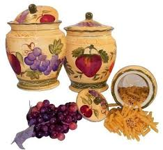 Tuscan Wine And Grape Kitchen Decor by Canister Set Ceramic Tuscany Wine Grape Fruits Kitchen European