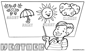 Different Types Of Weather Studying Coloring Various Sheet