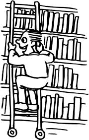 Boy Riding A Ladder Through Library Coloring Pages