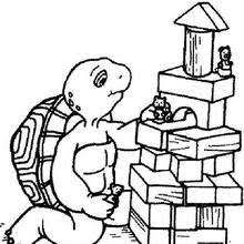 Cute Franklin Harriet Turtle With Toys Coloring Page