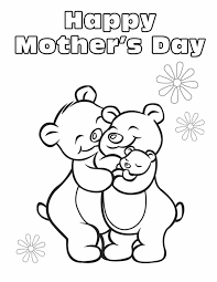 A Loving Family Of Bears Hug In This Flowery Mothers Day Coloring Page From Sheknows