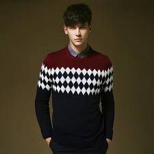 Western Style Vintage Slim Fit Men Pullover Sweater Winter Autumn Wear High Quality