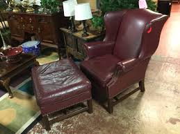 Broyhill Leather Wing Chair & ottoman