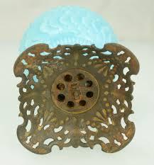 Aladdin Caboose Oil Lamp by Victorian Dithridge Co Sunset Blue Milk Glass Oil Lamp On Brass