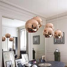 einfache glaskugel pendelleuchten kupfer splitter gold farben hängende le dekoration wohnzimmer