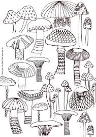 Mushroom Coloring Sheet A4 Printable Instant Download Color Page Forest Autumn Adult Book By Eeliethel