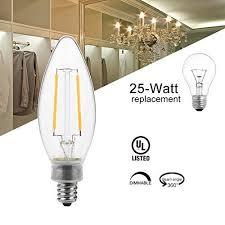 thinklux led filament candelabra bulb 2 watt 25 watt equal bullet