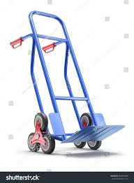 Blue Stair Climbing Hand Truck With Six Wheels - 3D Illustration ...