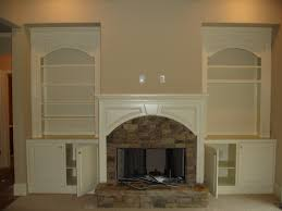 Classic White Painted Pine Wood Built In Bookshelves Combined Rustic Fireplace Splendid Bookcases