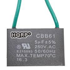 amazon com hqrp ceiling fan capacitor cbb61 5uf 5uf 4 wire plus