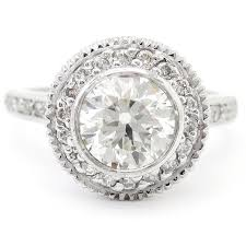 Round Cut Bezel Set Antique Style Legacy Inspired Diamond Engagement Ring R1