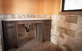 Rustic Bathtub Tile Surround by Rustic Bathroom Colors Rustic Brown Wooden Floating Base Cabinet