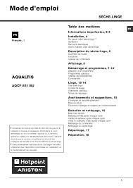 notice seche linge hotpoint ariston mode d emploi sèche linge hotpoint aqcf 851 b u trouver une