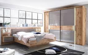 schlafzimmer in wildeiche nachbildung basaltgrau inklusive beleuchtung