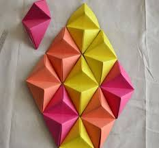 Wall Art Ideas Design Diamond Shaped 3d Paper Combination Diy Easy To Make Cool Motifs DIY Creative House