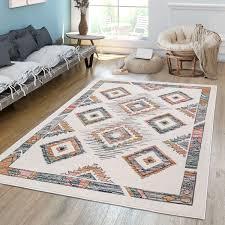wohnzimmer teppich ethno style skandi rauten