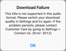 Error Message Download Failure This title is not supported in