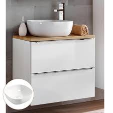 waschtisch unterschrank 60cm mit keramikbecken toskana 56 in wotaneiche mit weiß hochglanz b h t ca 61 74 5 46 cm