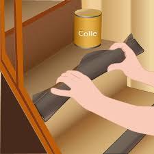pose collée de moquette dans un escalier avec profilé pour nez de