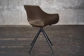 kawola stuhl zaja esszimmerstuhl kunstleder drehbar vintage dunkelbraun