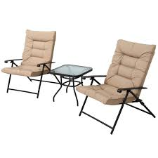 Details About 3 Piece Outdoor Padded Patio Folding Chair Furniture Set  Adjustable With Glass
