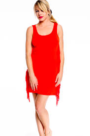 red orange scoop neckline sleeveless side fringe accent casual