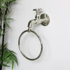 silber metall handtuchring halter retro industrie badezimmer