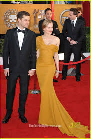 diane kruger yellow chiffon formal dress 2010 sag awards red