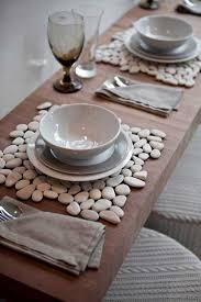 Creative Craft Ideas Making Home Decorations With Beach Pebbles Table Placemats Created White