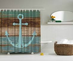Amazon Nautical Anchor Rustic Wood Shower Curtain Water