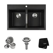 Home Depot Kitchen Sinks Canada by Kraus 33 Inch Dual Mount 50 50 Double Bowl Black Onyx Granite