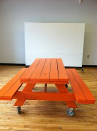 super diy conference lunch table that can be moved for an