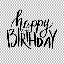 Happy Birthday Hand draw lettering on transparent background