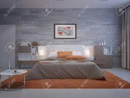 frontansicht auf gemütliche schlafzimmer mit mauerwerk tapeten und orange dekoration 3d übertragen