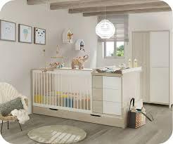 chambre bébé bois lit bébé combiné évolutif lili bois et blanc