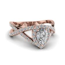 Pear Shaped Diamond Engagement Ring In 18K Rose