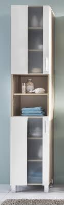 badezimmer hochschrank porto in weiß und eiche sägerau hell badmöbel 33 x 191 cm badschrank mit glas satiniert