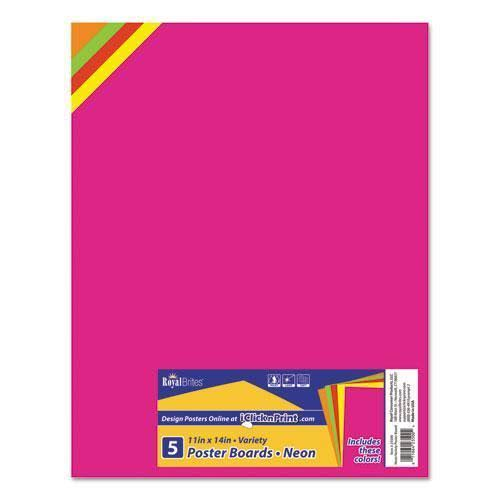 "Royal Premium Coated Poster Board - 11"" x 14"", Assorted, 5ct"