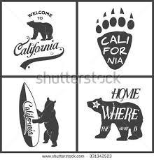 Set Of Vintage Monochrome California Emblems And Design Elements Typography Illustrations Republic Bear Vector EPS8 Illustration