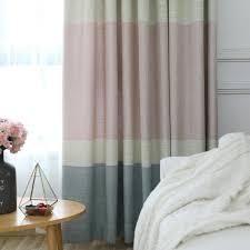 minimalismus vorhang rosa blau aus leinen und polyester im