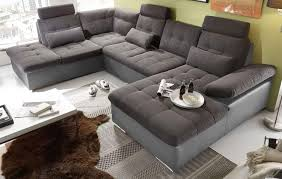jakarta wohnlandschaft sofa lederlook schlaffunktion schlafsofa dunkelgrau grau ottomane links 324 cm