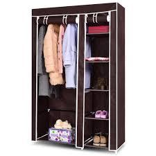 Costway 69 Portable Closet Storage Organizer Clothes Wardrobe Shoe Rack W6 Shelf Brown