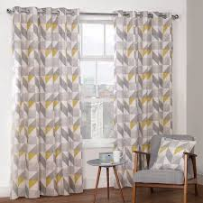 Lined Curtains For Bedroom by Delta Grey U0026 Yellow Luxury Lined Eyelet Curtains Pair Julian
