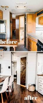 Before And After Rhcom Homes On Wheels Travel Trailer Makeovers We Love Porch Advicerhporchcom Rv