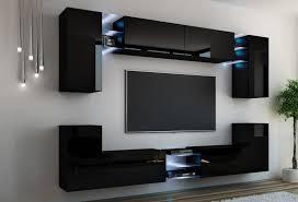wohnwand splash schwarz hochglanz schwarz mediawand medienwand design modern led beleuchtung mdf hochglanz hängewand hängeschrank galaxy tv wand
