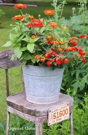 Zinnias Lantana On A Rustic Stool Organizedclutter Flower PlantersOutdoor