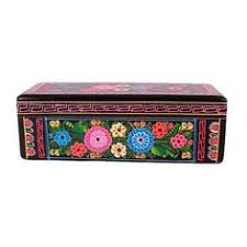 Pre Owned Hand Painted Olinala Black Wooden Box With Flowers